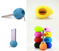 design egg holder - For Iphone G S Egg Like Round Gel Dock Rubber Holder Speaker Silicone Amplifier Special Design Colorful Cell Phone Stand Speaker
