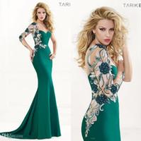 Cheap One Long Sleeve Sweetheart Tarik Ediz 2014 Spring Summer Mermaid Evening Dresses Applique Beaded Elie Prom Dresses Crystal Evening Gowns LJW