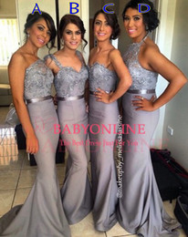 2019 Custom Made Mix Style Long Cheap Bridesmaid Dresses Halter Mermaid Sexy Cheap Formal Prom Dresses Backless Formal Evening Gowns BO6556
