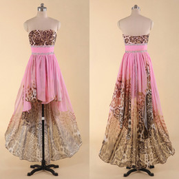 Wholesale Sexy Leopard Hi Lo Party Dresses Strapless Chiffon With Print Crystal Beads Sequins Backless Pink Prom Dress