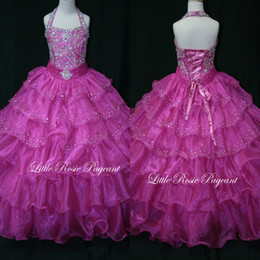 Gorgeous Fuchsia Halter Beads Tiered Organza Lace Up Girls Pageant Dresses High Quality Real Image Free Shipping Flower Girl Dress 2015