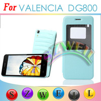 Wholesale Flip Leather Case with Open Window Battery Door Housing Back Cover for doogee dg800 Retail Package Cell Phone Cases