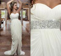 Cheap 2014 Hot Sexy Empire Bridal Wedding Dress Waist Beaded Sweetheart Draped Chiffon Beach Wedding Dresses Front Slit Cheap Grecian Bridal Gowns