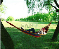 Nylon new  Garden Thick Hammock Outdoor Canvas Leisure Camping Stripy Swing & Bag Outdoor High Quality 30pcs lots Comfortable