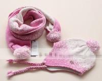 Cheap Customization Children Girls 50% Wool Scarves + Hat Set Cute Lovely 2Pcs Suit Drark Gray Light Gray Pink Jacinth Kids Warm Accessories E0790