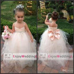 Wholesale 2014 New Lovely Bridal Flower Girl Dress Spaghetti Straps Tulle Beaded Waistband Floor Length Sparkling Little Girls Pageant Dresses BO6344