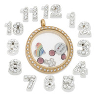 charms number charms - 7mm floating charms type2 MJ1130027 silver rhinestone numbers each for glass living lockets