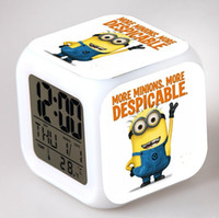 Wholesale 10pcs DHL Free Ship Despicable Me LED Colors Change Lighting Digital Alarm Clock Thermometer Christmas Glowing Table Clocks