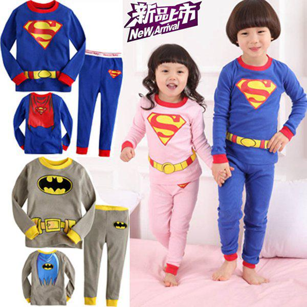 Kid Superman Batman Cartoon Pajamas Child Spring Autumn Top with ...