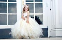 Wholesale 2014 Princess Flower Girls Dresses White Puffy Tulle Custom Made Ball Gown Strapless Backless Sweep Train Summer Beach Wedding BO5769
