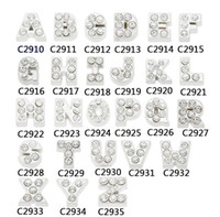 charms alphabet glass - 7mm floating charms MJ1130028 silver whole rhinestone letters Alphabet A Z each for glass living lockets