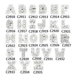 Wholesale 7mm floating charms MJ1130028 silver whole rhinestone letters Alphabet A Z each for glass living lockets