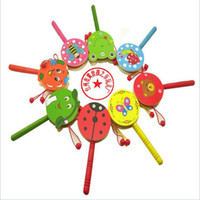 Wholesale Wooden rattle drum cartoon Tambourine wooden toys wooden baby rattles musical toys educational toy