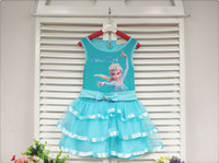 Wholesale Pre order Summer Children Girls Ruff Frozen Elsa Printed Butterfly Tutu Tank Dresses Childs Girls Bowknot Tulle Dress Kids Dressy M0918