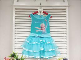 Wholesale Pre order Summer Children Girls Ruff Frozen Elsa Printed Butterfly Tutu Tank Dresses Childs Girls Bowknot Tulle Dress Kids Dressy M0918