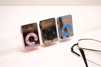 Wholesale Mini Clip Mirror Mp3 Player With Micro TF Slot For Mini SD Card Mp3 flash Sport Mp3 player Colors usb cable earphone