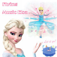 Cheap 24Pcs lot Sensor Flying Induction Frozen Baby Dolls Toys Princess Elsa Music Flying Party Toys Brinquedos Kids Dolls for Girls Kids gift