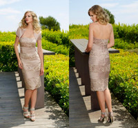 Cheap 2014 Sexy Mother Of The Bride Dresses Strapless Lace Sheath Knee Length Satin Mother Dress Short Evening Gowns With For Free Jacket WH616