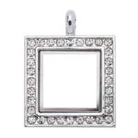 Lockets classic Unisex 5pcs lot square rhinestone living floating glass memory lockets 24.5x31.5mm Zinc Alloy