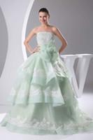 green wedding gown - 2014 Mint Green Wedding Dresses Bow Applique Strapless Backless Ball Gown Floor Length Bridal Gowns Ruffles vestido de novia LX