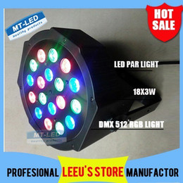 4PCS Free shipping Big Led stage light 18x3W 54W 85-265V High Power RGB Par Lighting With DMX 512 Master Slave Led Flat DJ Auto-Controller