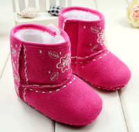 magic rose - Winter Girl Knitted Cotton Flower Shoes Infant Baby Walker Magic Tape Shoes Children Toddler Prewalker Floral Shoes pair Rose Red M0917