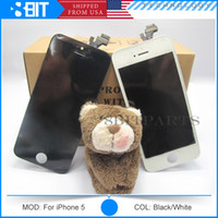 Cheap Wholesale Free DHL- LCD Display Replacement & Black and White Glass Touch Screen Digitizer For AAA Quality iPhone 5