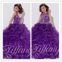 Wholesale 2015 Lovely Sequins Flowergirl Dresses Purple Sheer Organza Crystal Bead Princess kids Ankle Length Bridesmaid Dress Girl Pageant Ballgown
