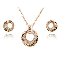 Cheap Hot selling brandjewelry wholesale Korean version of antiquity Vintage necklace earrings set rose gold plated jewelry set ZST54