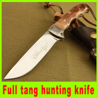 bowie knives - Top quality Browning Full Tang Wood handle Bowie Hunting survival straight knife Cr15mov Steel hiking Fixed blade knife Christmas gift H