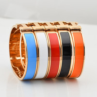 Wholesale OP High Quality Enamel Look H Rose Gold Plated L Stainless Steel Bangle Bracelet