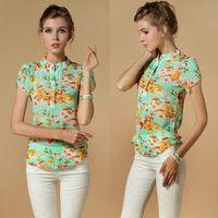 Cheap Hot Sale 2014 casual women blouse short-sleeve floral print chiffon blouse top, summer shirts S M L XL XXL XXXXL dropship