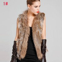 Wholesale 2014 Hot Sale Woman Knitted Rabbit Fur Vest With Raccoon Fur Collar Giletwaist warm coat ecc1991