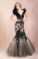 Wholesale 2017 Mermaid Prom Dresses Color Accented Portrait Cap Sleeves Floor Length Applique Lace Beaded Handmade Flower Tulle Party Dresses TIAN66