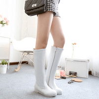 Wholesale Ladies Fashion Spring and Autumn New comfortable Low heeled Round Toes Knight boots high boots White Black