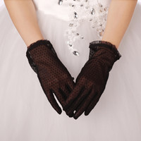 Wholesale Sexy Black Lace Bridal Gloves Full Long Finger Tulle Bridal Gloves Wedding Dresses Gloves Accessories Cheap In Stock