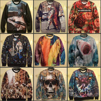 pullover men - New Winter Women Men INC print Galaxy hoodies Sweaters Pullovers Shark Skull animal D Sweatshirt Tops T Shirt
