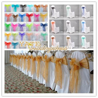 Wholesale Silver Chair Wedding Favor - Cheap Wedding Decorations Organza Bow Chair Cover Sash Bow Wedding Anniversary Party Banquet Favor Reception Decoration 2015
