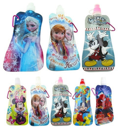 Wholesale 2014 New Frozen Water cups Drinkware Cute Water cups Gifts Elsa Anna Bottles Various Cartoon Printing Water Bags Packs Foldable TP104