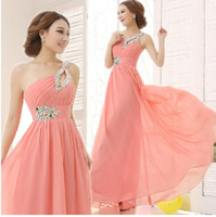 beaded brooches - New Fashion Chiffon One shoulder Lace Up Bridesmaid Dresses Sequin And Beaded A line Long Prom Dresses Cheap