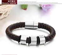 Bijoux en gros 2014 New Hot Vente de Mode Hommes & amp; # 039 ; s / Femmes & amp; # 039 ; s de titane acier bracelets cuir Brown & amp; bracelets pour les hommes TY690