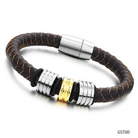 Wholesale jewelry European and American style jewelry leather titanium steel men s bracelet fashion gift PH700