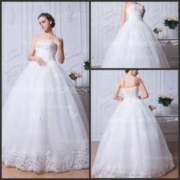 Wholesale Vintage Lace Wedding Dresses with Strapless Sheer Lace Applique Crystals Beaded Lace up Back Floor Length Ball Gown Wedding Dresses BZP0386