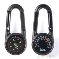 metal compass - OP Hot Multifunctional Hiking Metal Carabiner Mini Compass Thermometer Keychain In
