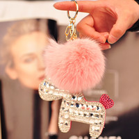 Wholesale triket PU leather horse keychain bag accessries fur ball Rhinestone bag pendant car key ring set