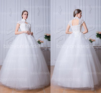 Wholesale 2014 Cheap ball gown tulle wedding dresses high collar cap sleeves hollow back and bust lace up back floor length long bridal gowns BZP0375