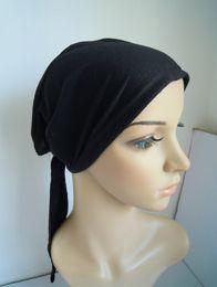 Wholesale Scarves Islamic Women - L015 with tie in the back cotton blending muslim women's scarf inner cap turban 20pcs per lot islamic hijab underscarf