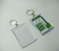 blank keyrings - 100pcs Blank Acrylic Rectangle Keychains Insert Photo Keyrings Key ring chain quot x quot