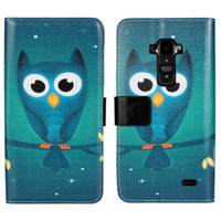 Cheap For LG Cartoon Owl Wallet case Best Leather Blue stand card slots cover