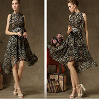 Wholesale leopard print Party dresses with Halter high collar knee length Hi Lo chiffon prom evening night wear